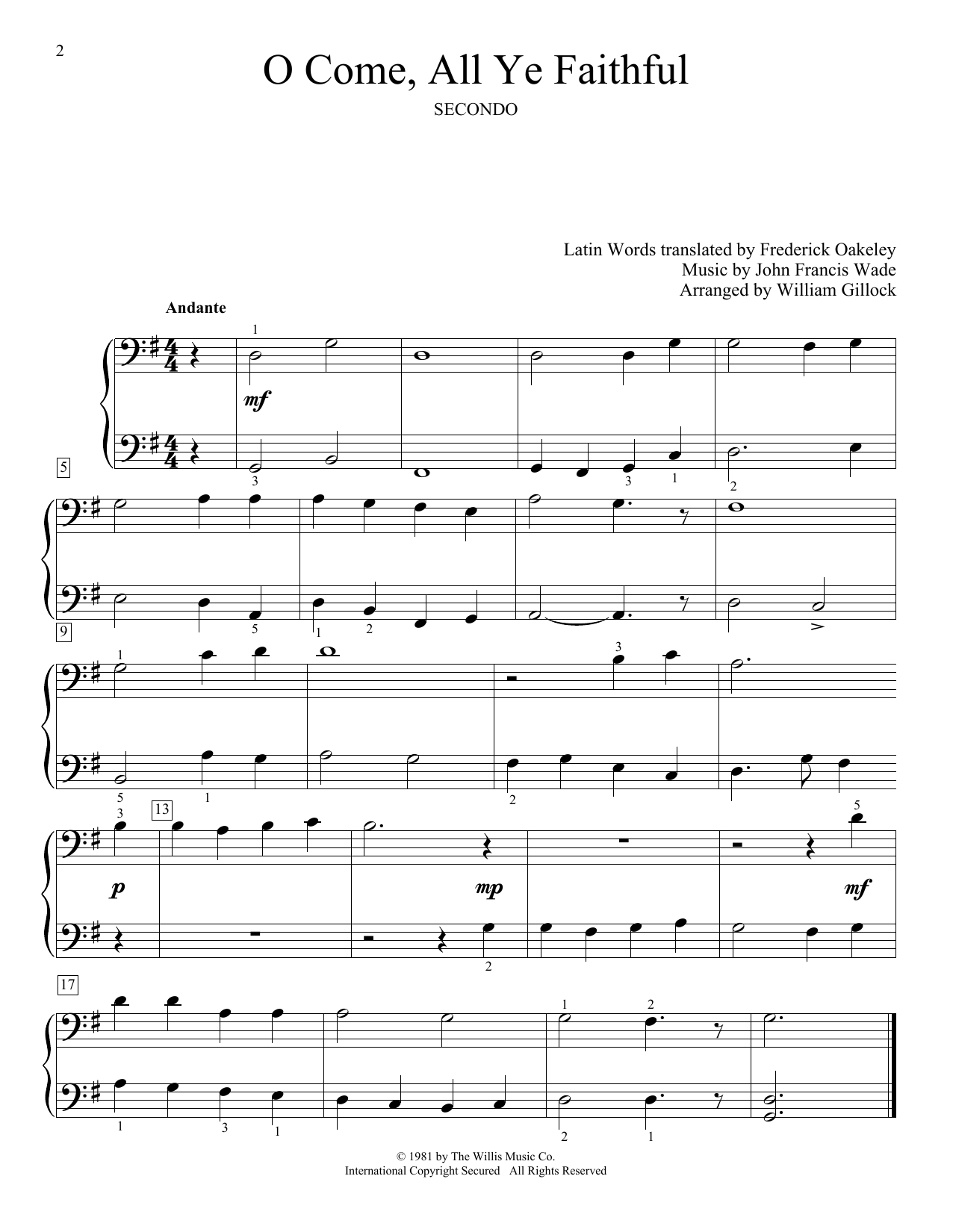 William Gillock O Come, All Ye Faithful (Adeste Fideles) sheet music notes and chords