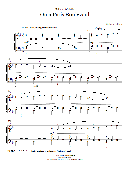 William Gillock On A Paris Boulevard sheet music notes and chords. Download Printable PDF.