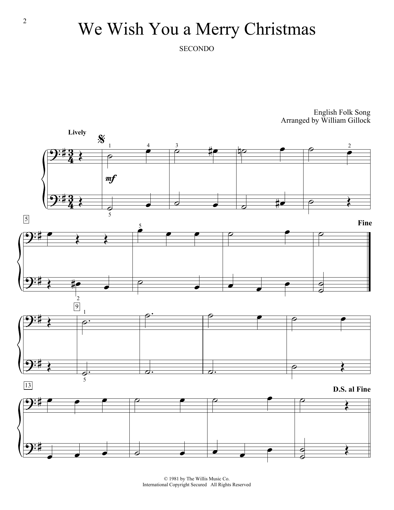 William Gillock We Wish You A Merry Christmas sheet music notes and chords