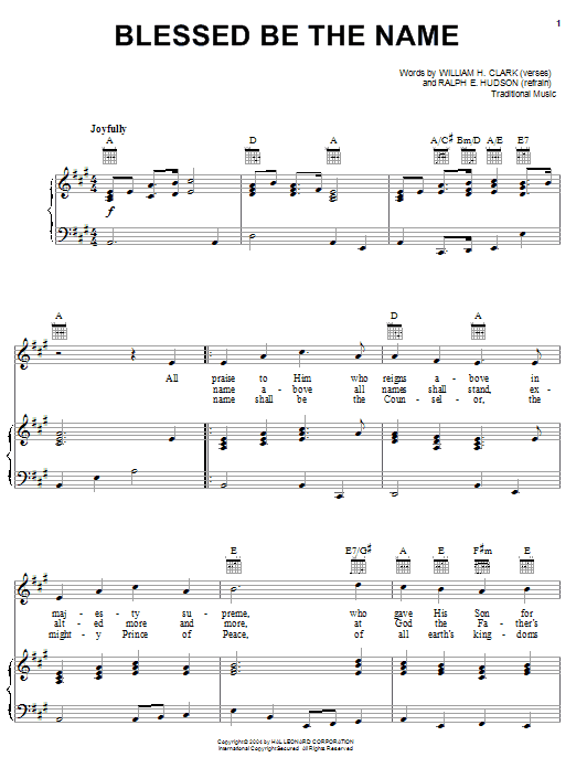 William H. Clark Blessed Be The Name sheet music notes and chords. Download Printable PDF.