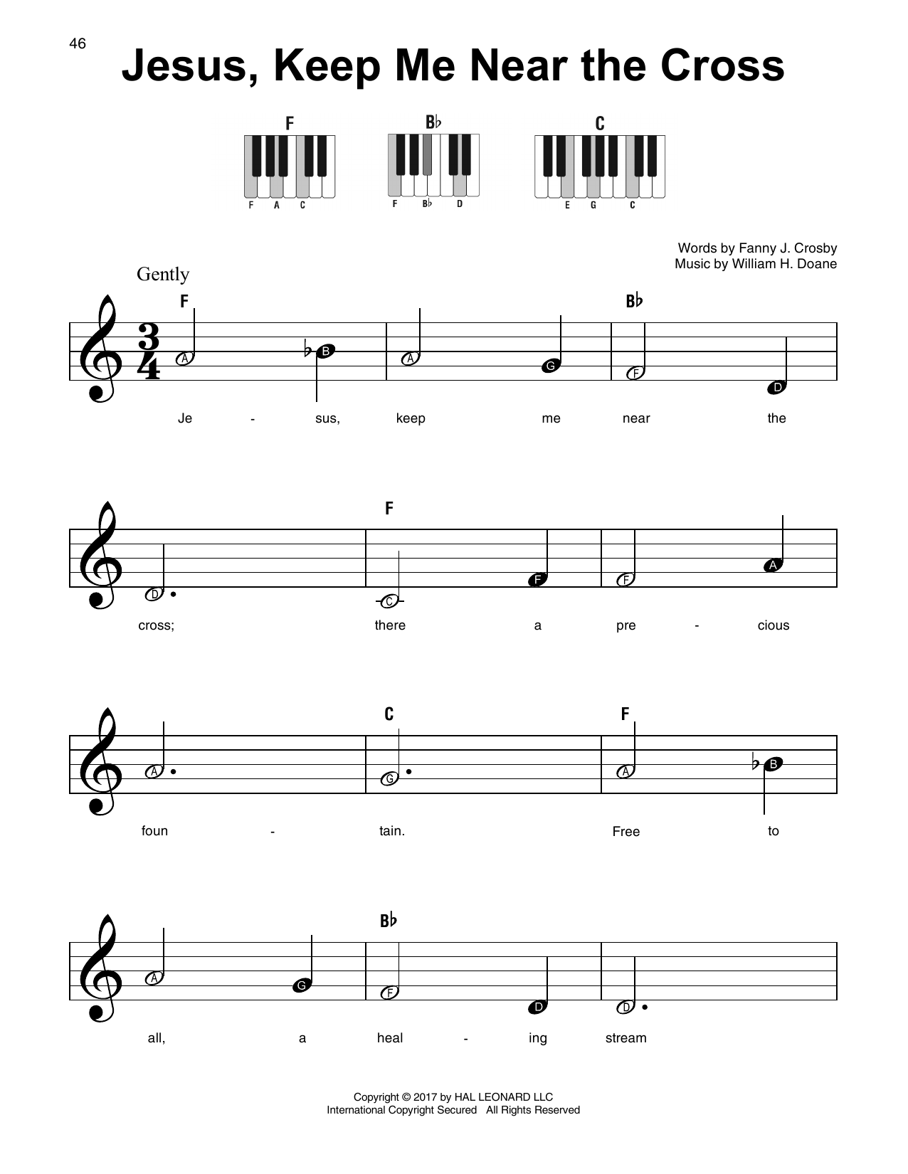 William H. Doane Jesus, Keep Me Near The Cross sheet music notes and chords