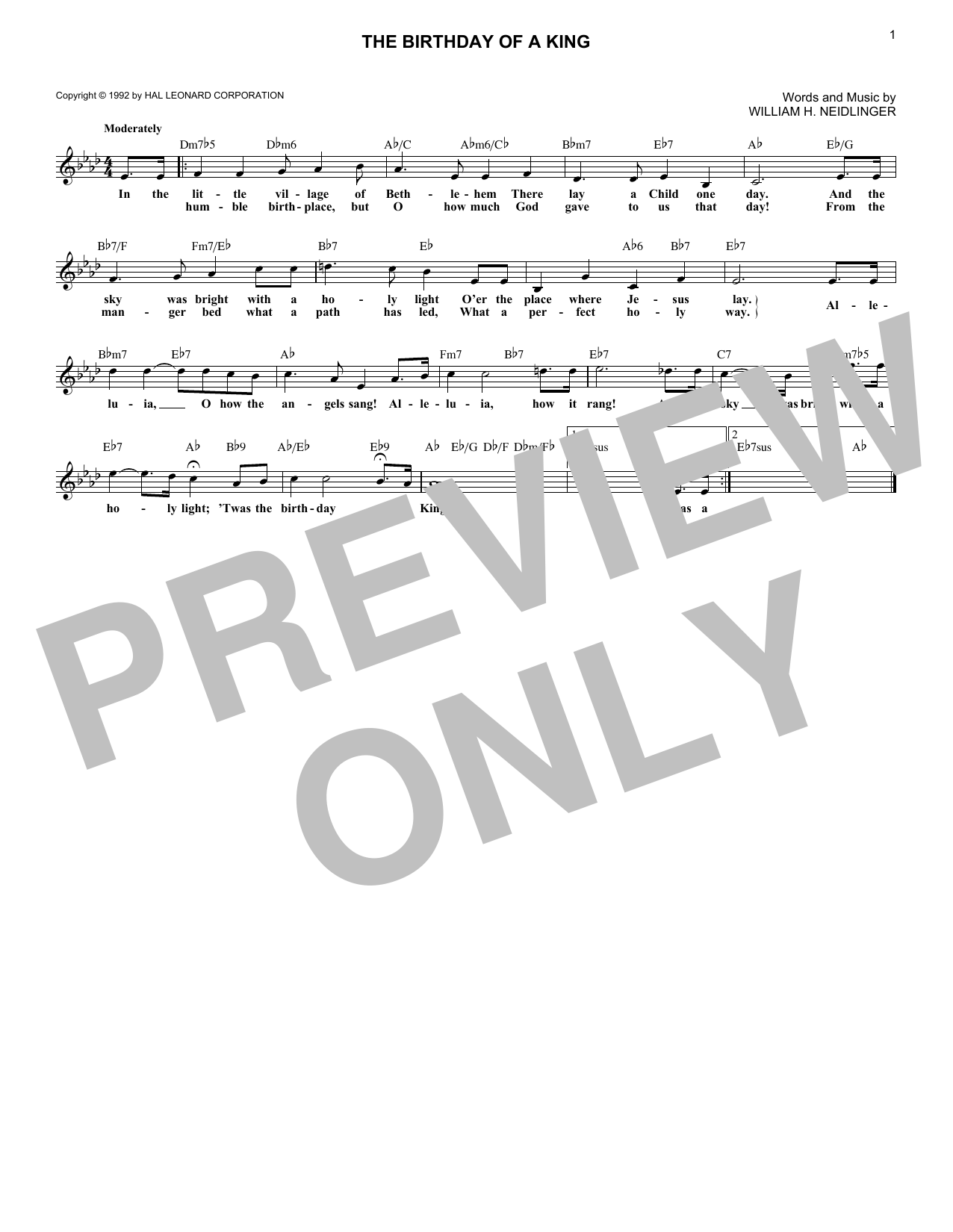 William H. Neidlinger The Birthday Of A King sheet music notes and chords. Download Printable PDF.