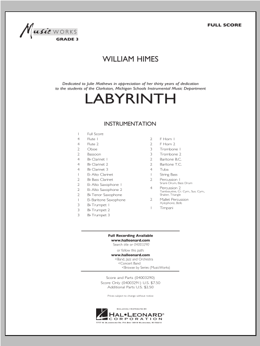 William Himes Labyrinth - Conductor Score (Full Score) sheet music notes and chords. Download Printable PDF.