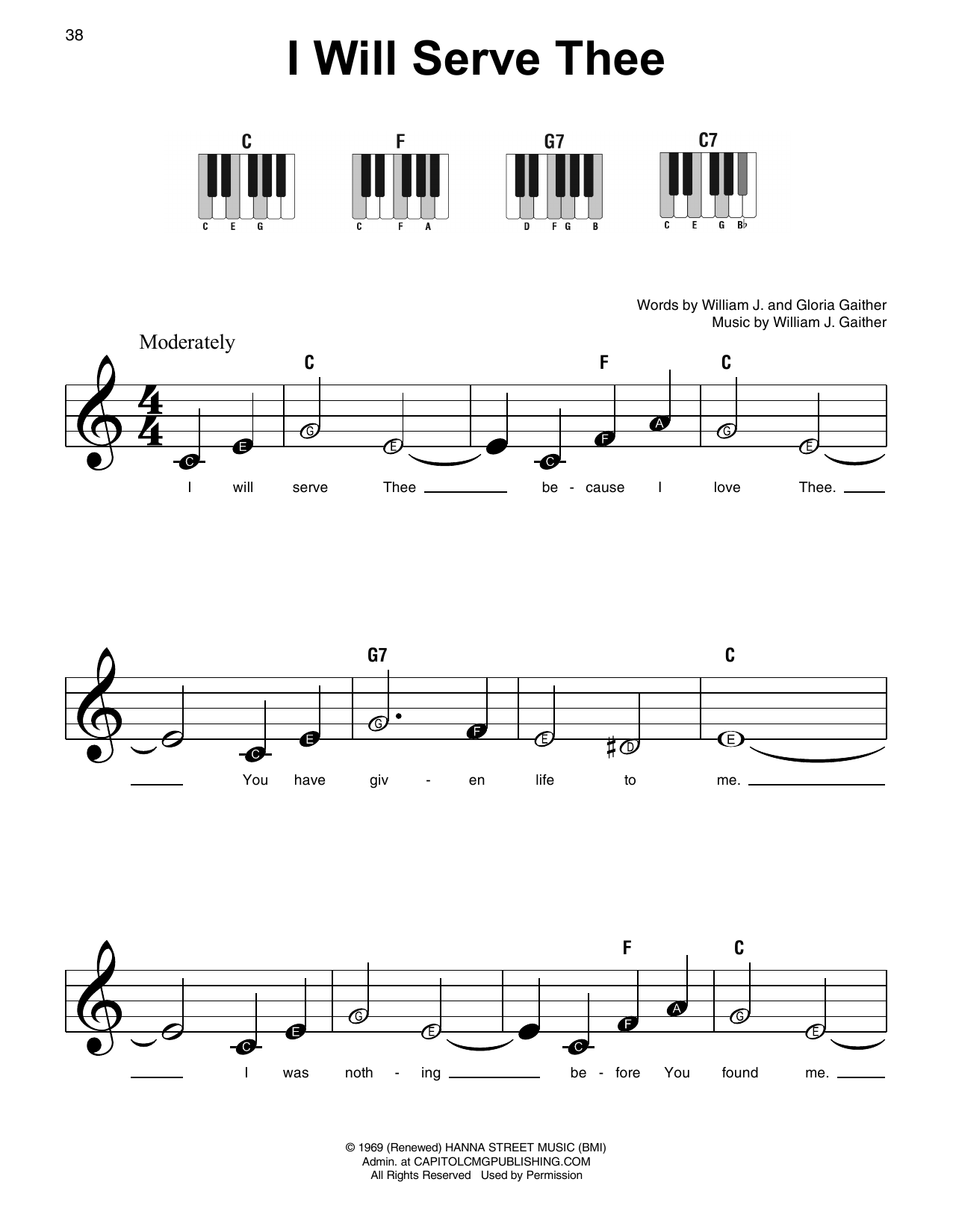 William J. Gaither I Will Serve Thee sheet music notes and chords. Download Printable PDF.
