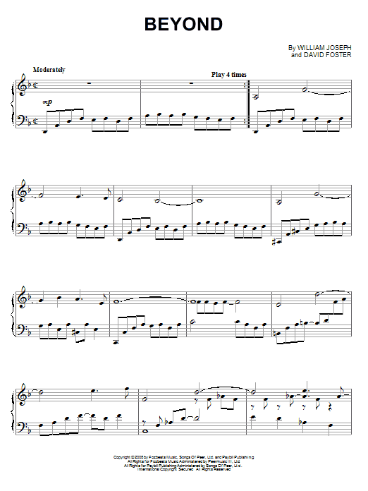 William Joseph Beyond sheet music notes and chords. Download Printable PDF.