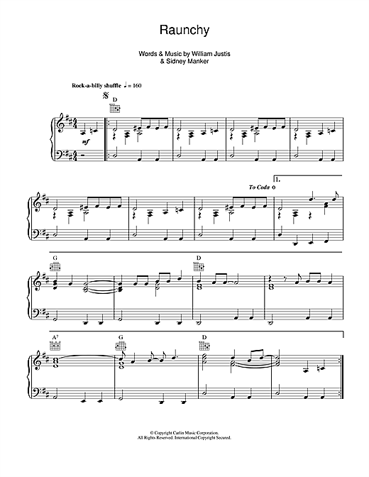 William Justis Raunchy sheet music notes and chords. Download Printable PDF.