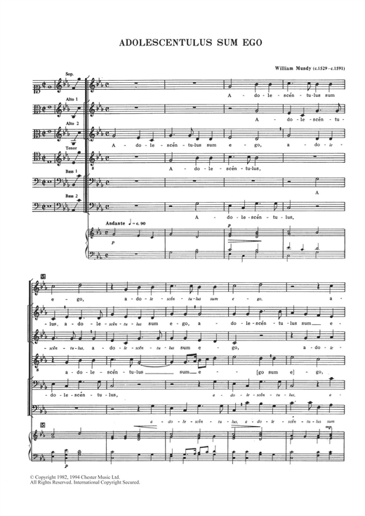 William Mundy Adolescentulus Sum Ego sheet music notes and chords. Download Printable PDF.