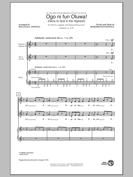William Powell Ogo Ni Fun Oluwa! (Glory To God In The Highest!) sheet music notes and chords. Download Printable PDF.