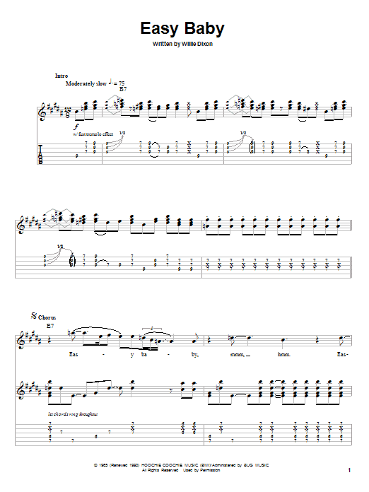 Willie Dixon Easy Baby sheet music notes and chords. Download Printable PDF.