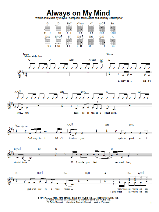 Willie Nelson Always On My Mind sheet music notes and chords. Download Printable PDF.