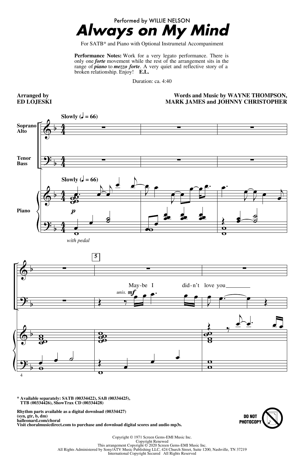 Willie Nelson Always On My Mind (arr. Ed Lojeski) sheet music notes and chords. Download Printable PDF.