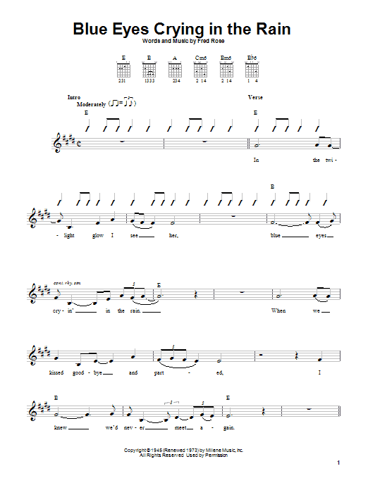 Willie Nelson Blue Eyes Crying In The Rain sheet music notes and chords. Download Printable PDF.