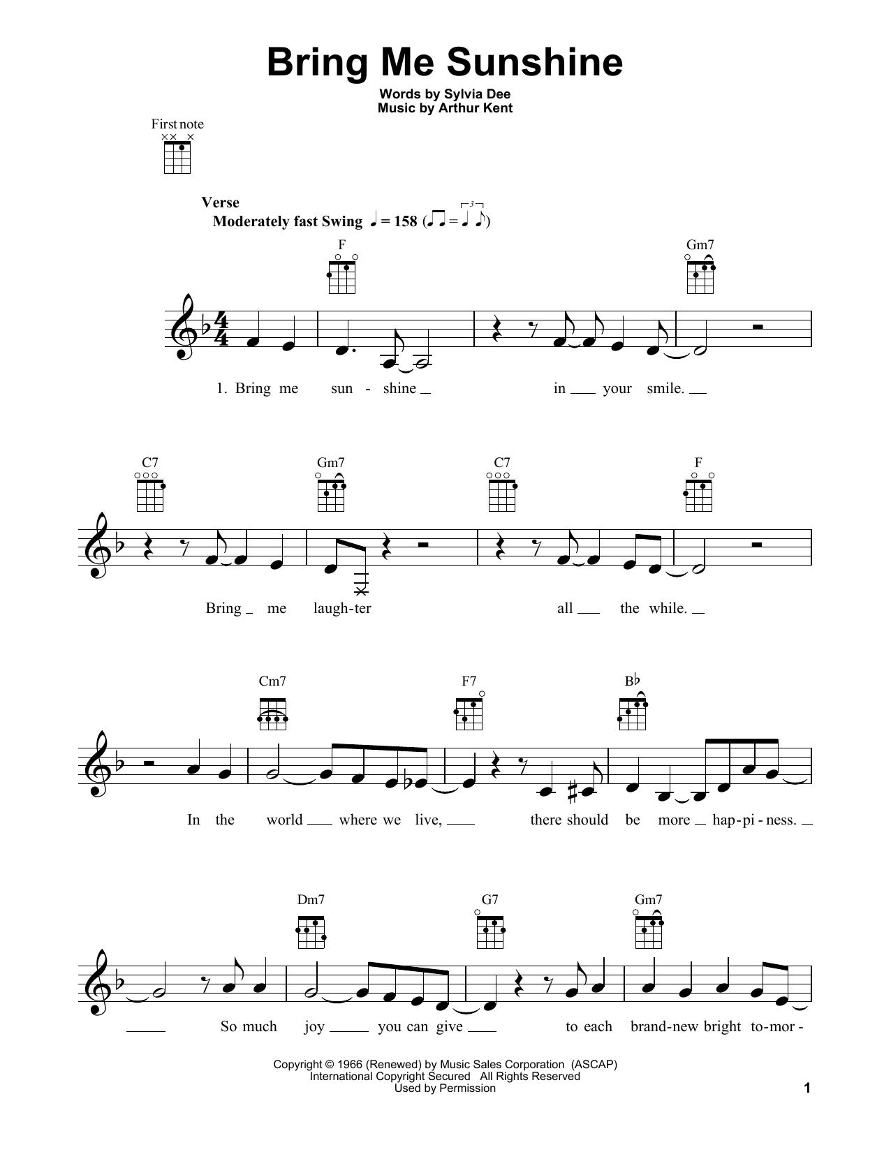 Willie Nelson Bring Me Sunshine sheet music notes and chords