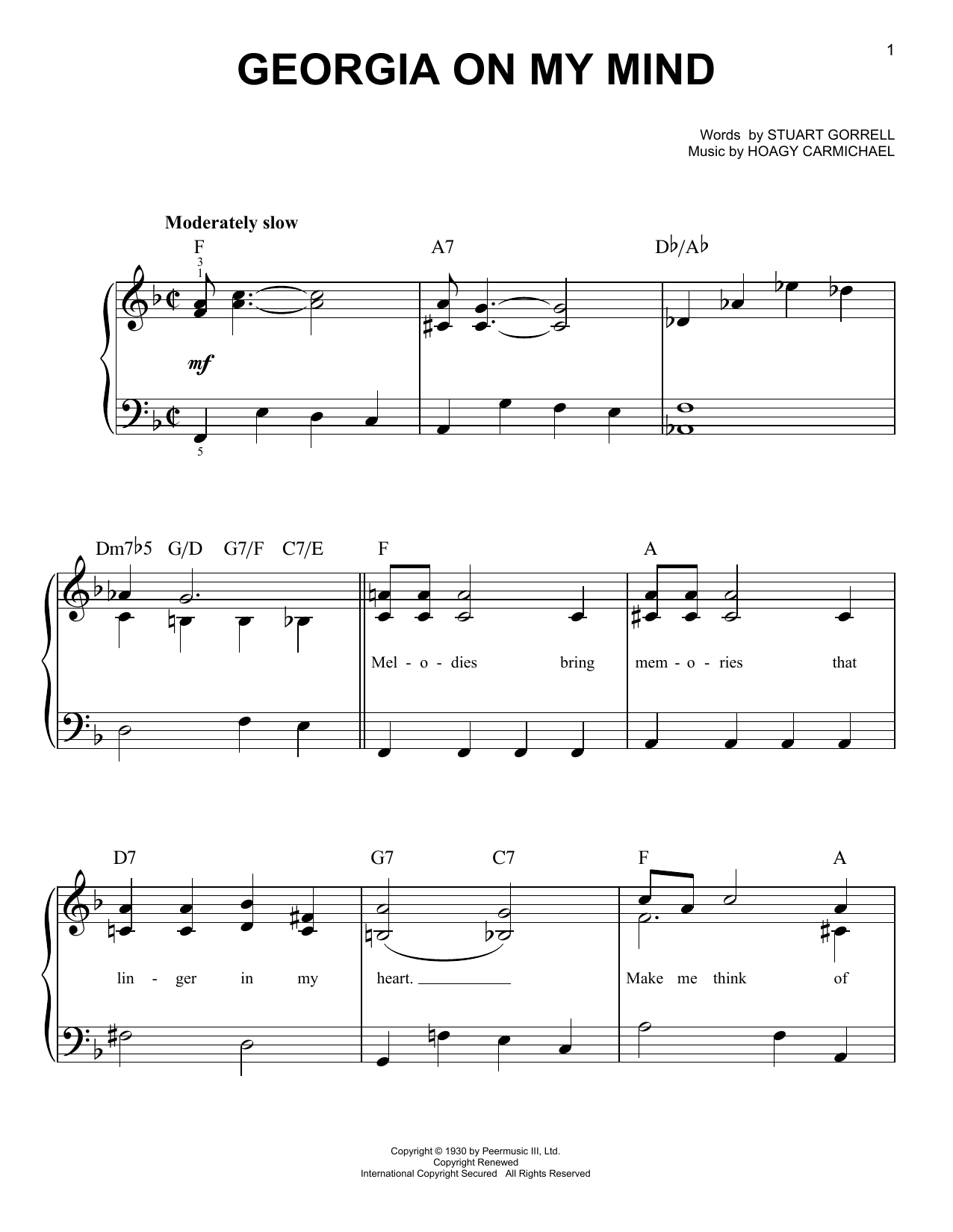 Willie Nelson Georgia On My Mind sheet music notes and chords