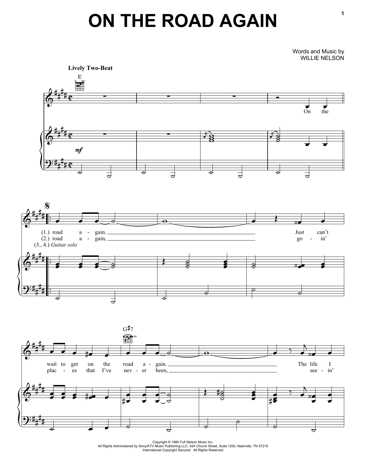 Willie Nelson 'On The Road Again' Sheet Music Notes, Chords | Download  Printable Guitar Tab - SKU: 83099