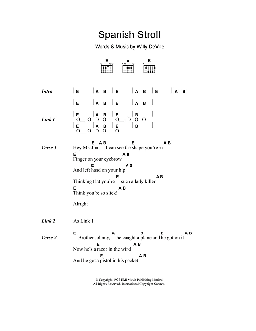 Willy DeVille Spanish Stroll sheet music notes and chords. Download Printable PDF.