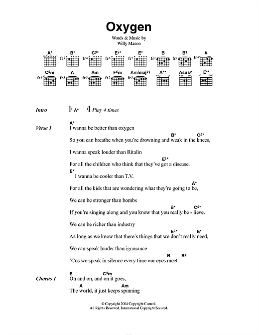 Willy Mason Oxygen sheet music notes and chords. Download Printable PDF.