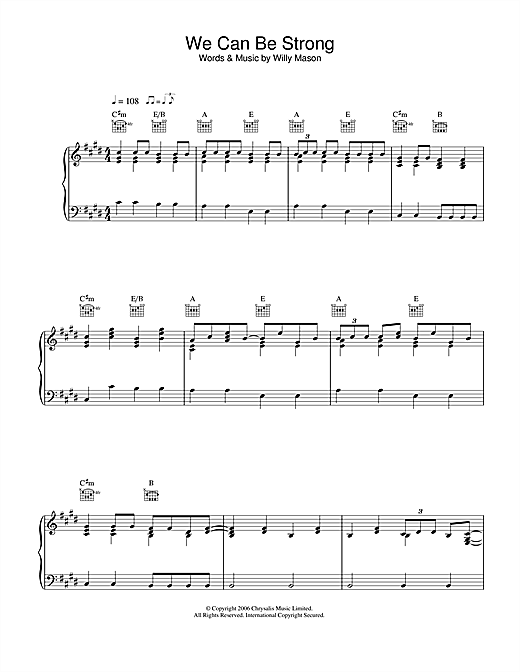 Willy Mason We Can Be Strong sheet music notes and chords. Download Printable PDF.