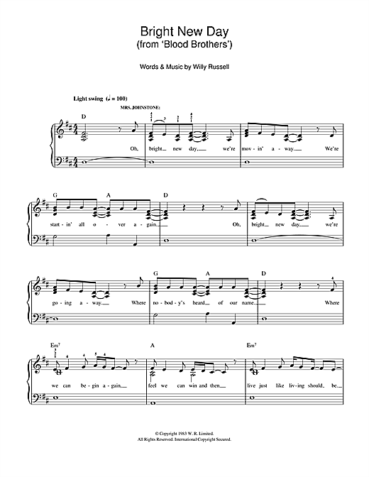 Willy Russell Bright New Day (from Blood Brothers) sheet music notes and chords