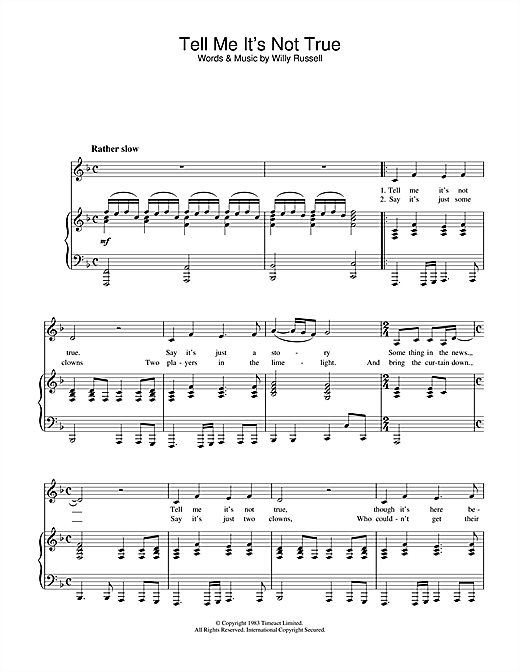 Willy Russell Tell Me It's Not True (from Blood Brothers) sheet music notes and chords. Download Printable PDF.