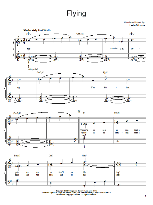 Willy Wonka Flying sheet music notes and chords
