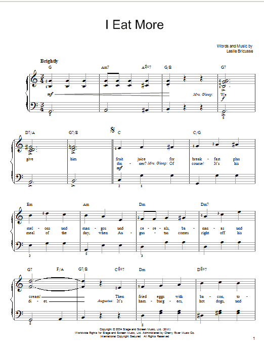 Willy Wonka I Eat More sheet music notes and chords. Download Printable PDF.