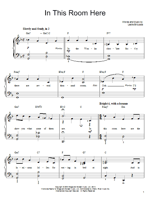 Willy Wonka In This Room Here sheet music notes and chords