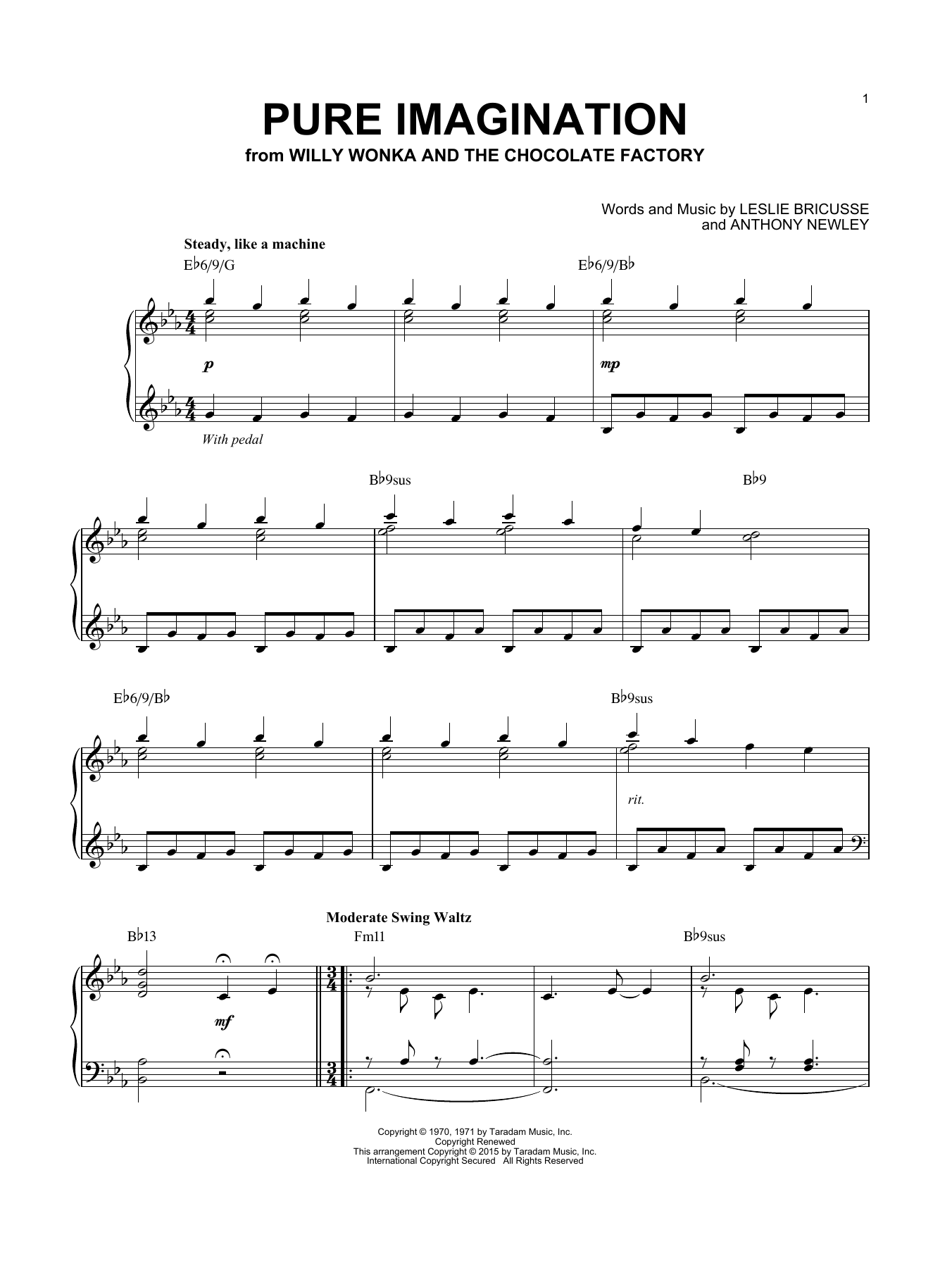 Willy Wonka & the Chocolate Factory Pure Imagination [Jazz version] (arr. Brent Edstrom) sheet music notes and chords