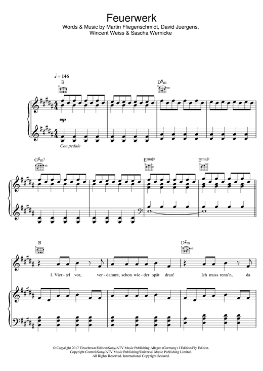 Wincent Weiss Feuerwerk sheet music notes and chords. Download Printable PDF.