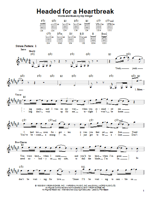 Winger Headed For A Heartbreak sheet music notes and chords. Download Printable PDF.