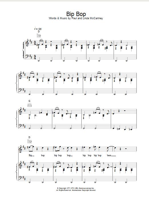 Paul McCartney & Wings Bip Bop sheet music notes and chords. Download Printable PDF.