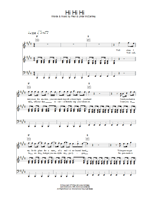 Paul McCartney & Wings Hi Hi Hi sheet music notes and chords. Download Printable PDF.