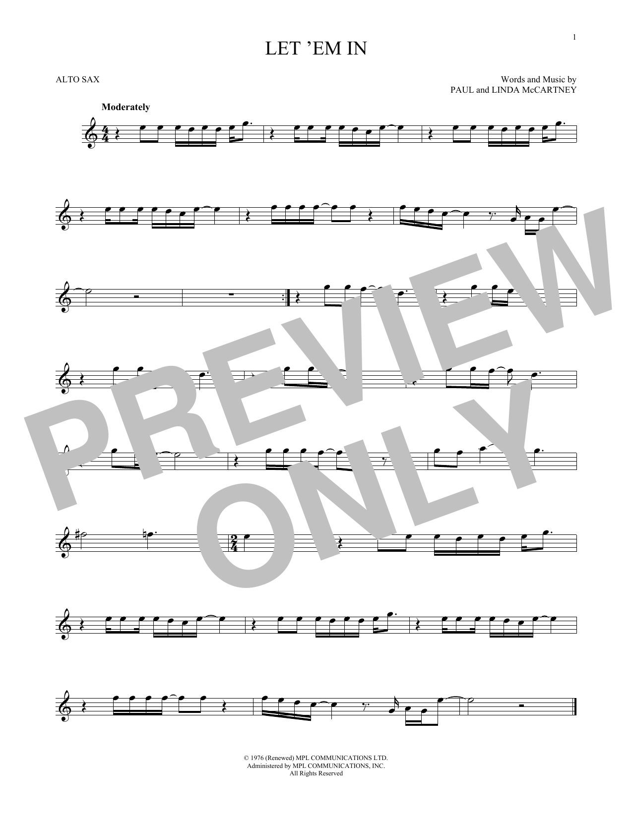 Wings Let 'Em In sheet music notes and chords. Download Printable PDF.