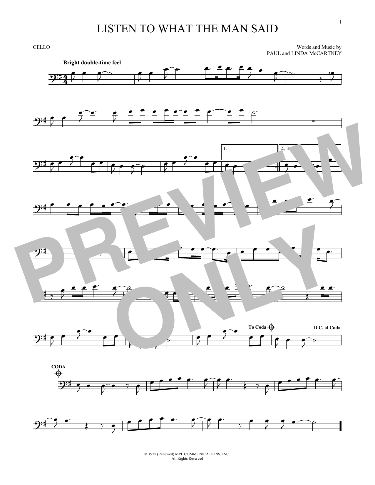 Wings Listen To What The Man Said sheet music notes and chords. Download Printable PDF.