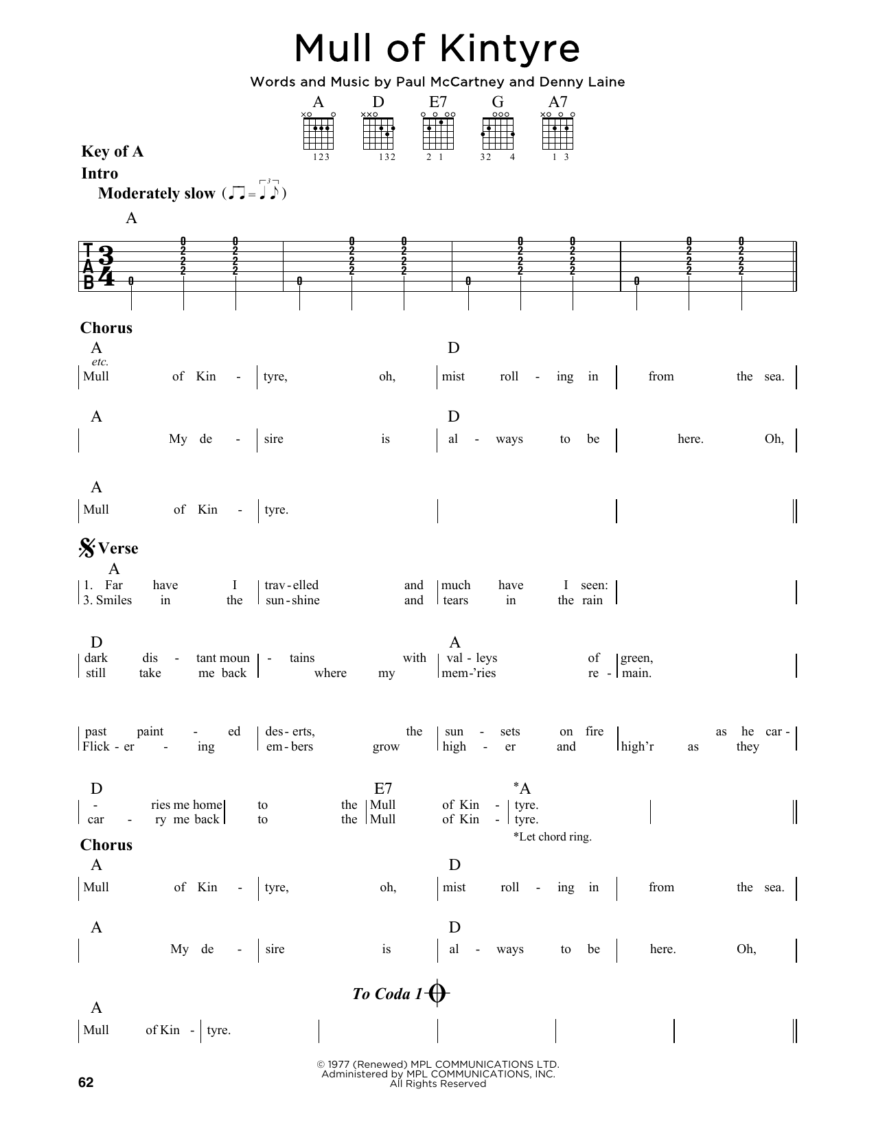 Wings Mull Of Kintyre sheet music notes and chords. Download Printable PDF.