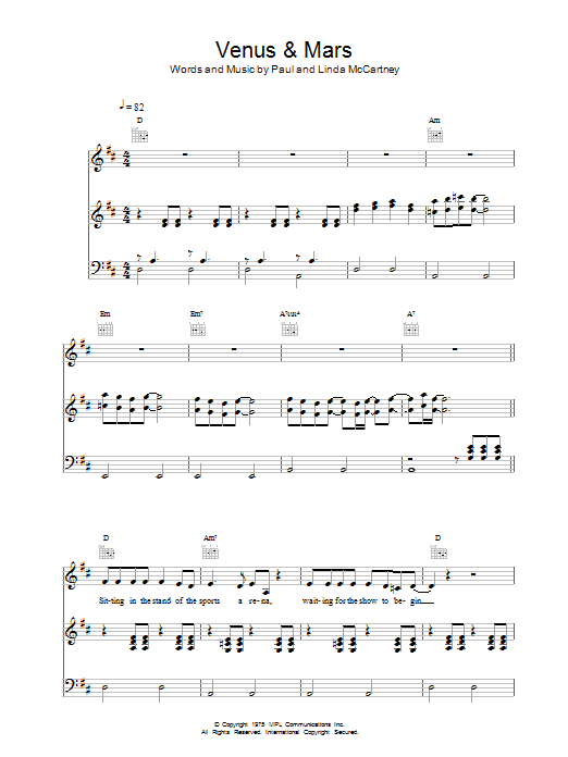 Paul McCartney & Wings Venus And Mars sheet music notes and chords. Download Printable PDF.