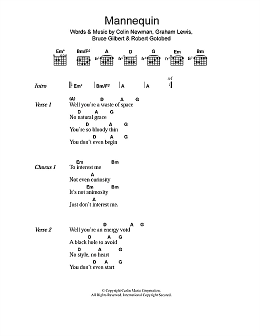 WIRE Mannequin sheet music notes and chords. Download Printable PDF.