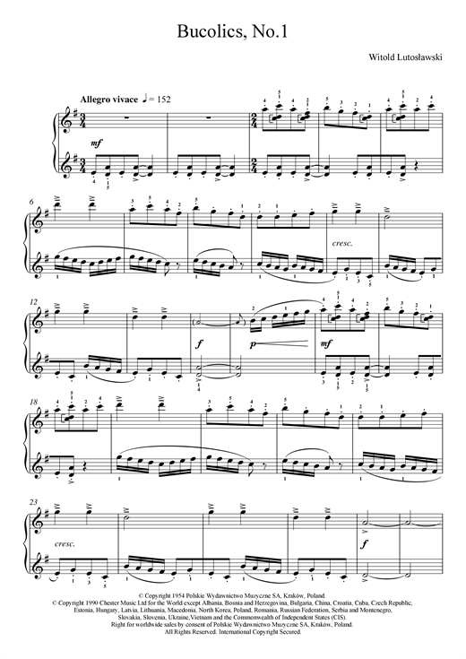 Witold Lutoslawski Bucolics, No.1 sheet music notes and chords. Download Printable PDF.