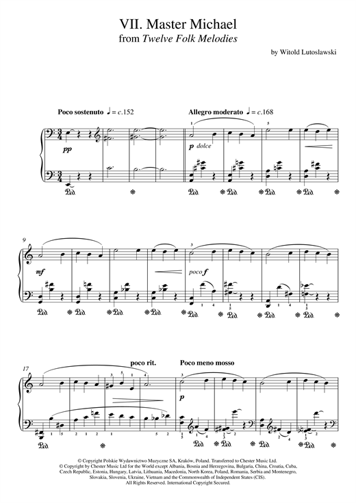 Witold Lutoslawski Master Michael sheet music notes and chords. Download Printable PDF.