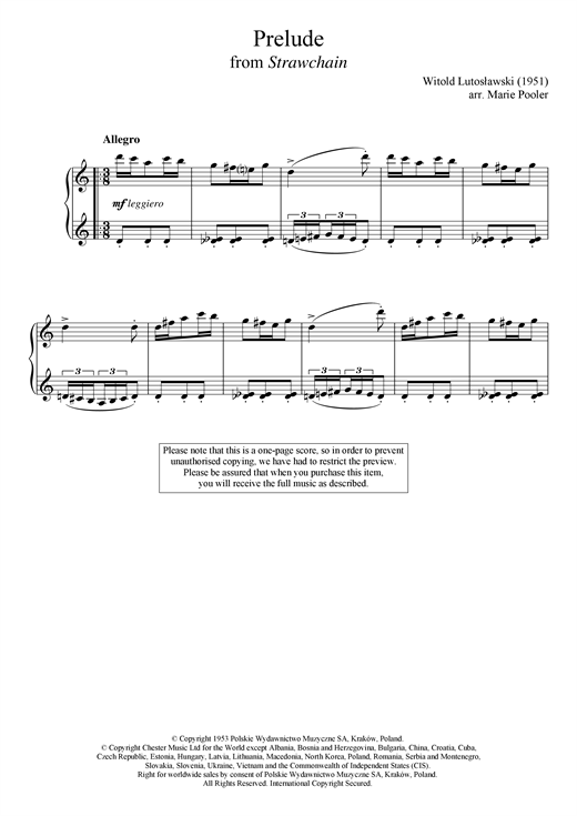 Witold Lutoslawski Prelude (from 'Strawchain') sheet music notes and chords. Download Printable PDF.
