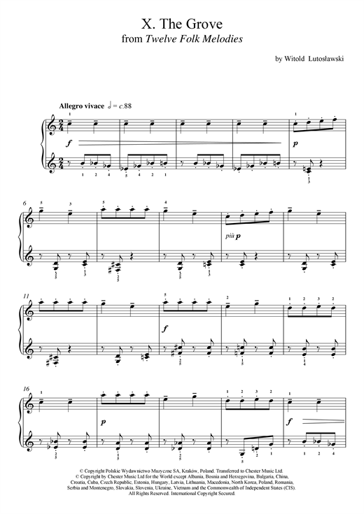 Witold Lutoslawski The Grove sheet music notes and chords. Download Printable PDF.