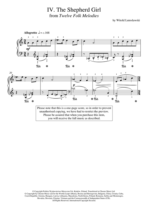 Witold Lutoslawski The Shepherd Girl sheet music notes and chords. Download Printable PDF.