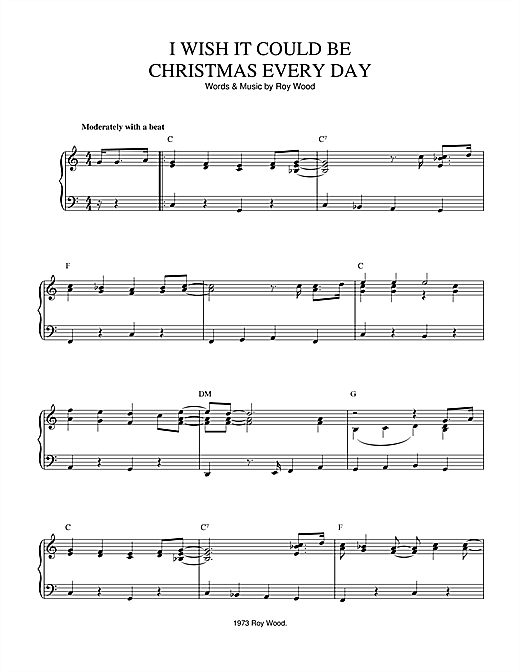 Wizzard I Wish It Could Be Christmas Every Day sheet music notes and chords