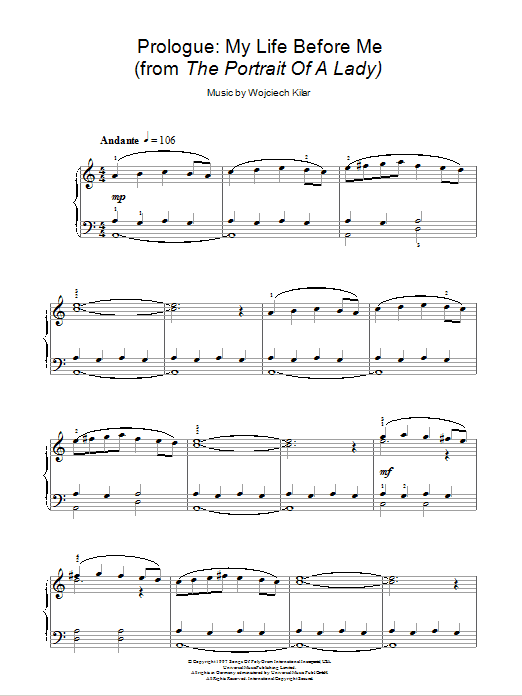 Wojciech Kilar Prologue: My Life Before Me (from The Portrait Of A Lady) sheet music notes and chords. Download Printable PDF.