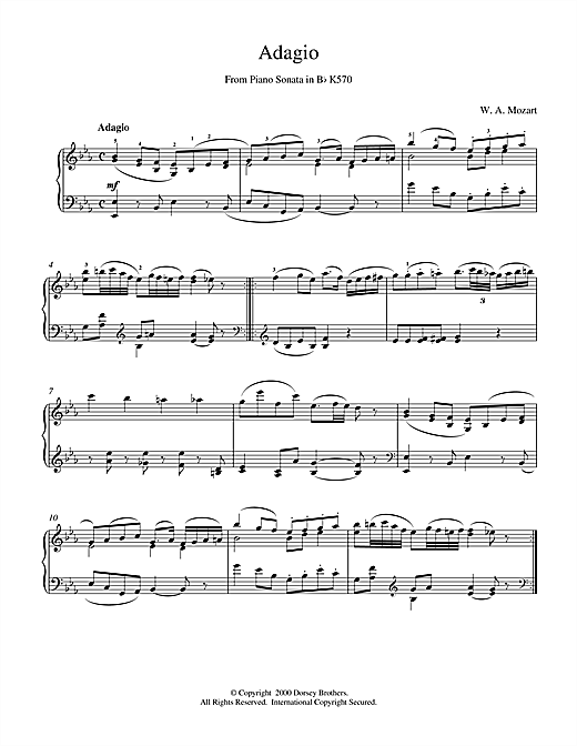 Wolfgang Amadeus Mozart Adagio from Piano Sonata in Bb, K570 sheet music notes and chords
