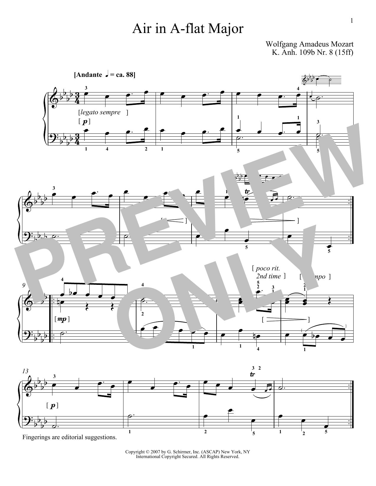 Wolfgang Amadeus Mozart Air In A-Flat Major, K109b, No. 8 sheet music notes and chords. Download Printable PDF.