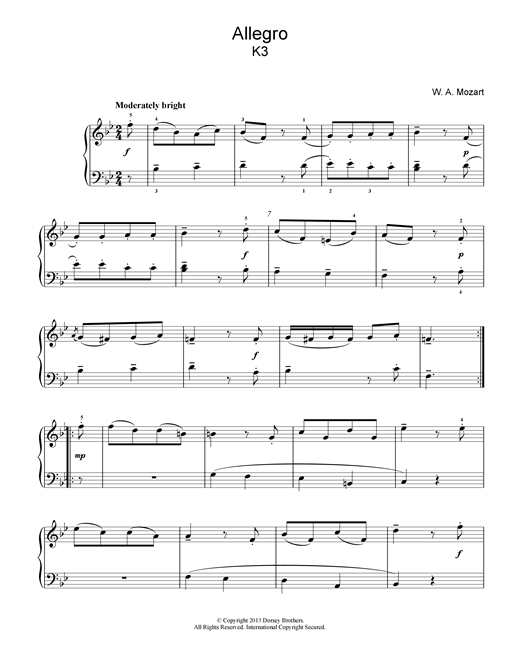 Wolfgang Amadeus Mozart Allegro K3 sheet music notes and chords