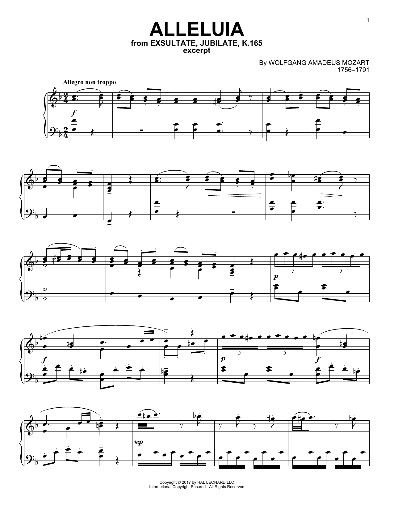 Wolfgang Amadeus Mozart Alleluia sheet music notes and chords. Download Printable PDF.