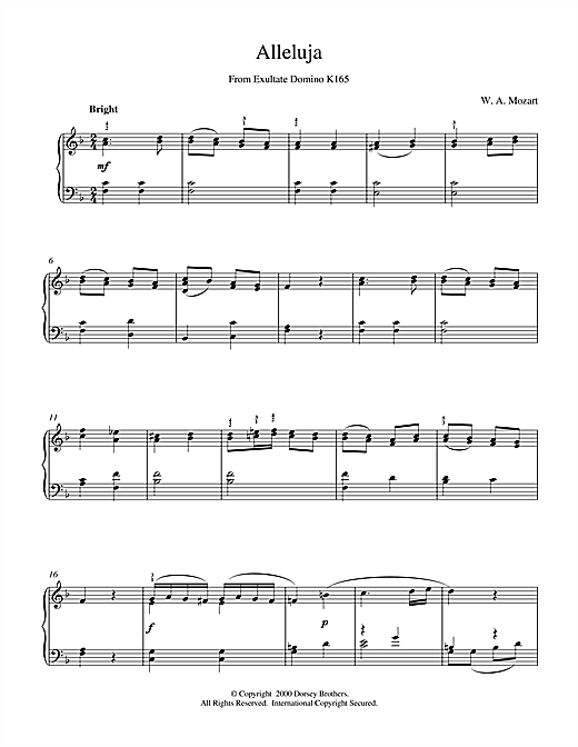 Wolfgang Amadeus Mozart Alleluja From Exultate Domino sheet music notes and chords. Download Printable PDF.