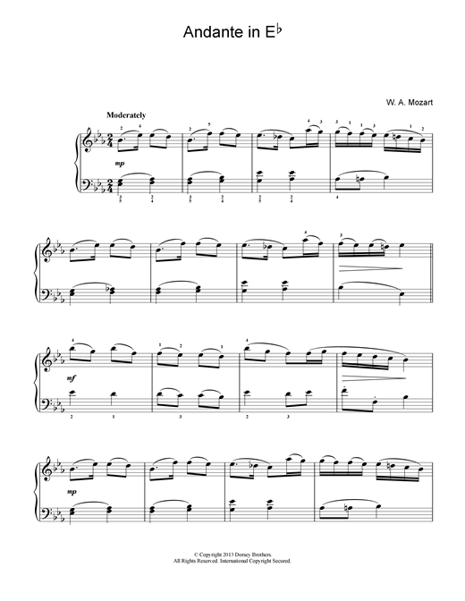 Wolfgang Amadeus Mozart Andante in E Flat sheet music notes and chords